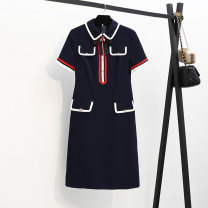 Women's large Summer 2020 Navy Blue XL 2XL 3XL 4XL 5XL Dress singleton  commute easy Korean version polyester Three dimensional cutting Lemon shop 30-34 years old Medium length Other 100% Pure e-commerce (online only)