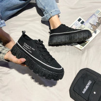 Low top shoes 39,40,41,42,43,44 Other / other cloth Frenulum Round head Outdoor leisure shoes Superfibria Korean version daily Solid color Internal elevation spring and autumn rubber increase Adhesive shoes Youth (18-40 years old) Sewing Flat heel (1cm or less) PU Spring 2021