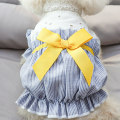 Pet clothing / raincoat Dog skirt XS (about 2.5-3.5 kg) s (about 4-5.5 kg) m (about 6-8 kg) l (about 9-11 kg) XL (about 11-14 kg) Le Shuang pet leisure time Bow blue striped floral skirt