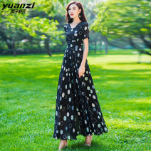 Dress Summer of 2019 Round pattern on black background S M L XL XXL XXXL longuette singleton  Short sleeve street V-neck middle-waisted Broken flowers Socket Big swing routine 30-34 years old Type X Garden clothes zipper More than 95% Chiffon polyester fiber Polyester 100% Europe and America