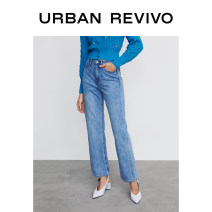 Jeans Summer 2021 blue XXS S XS L M trousers Natural waist Straight pants 25-29 years old UR 96% and above Cotton 100% Same model in shopping mall (sold online and offline)