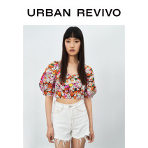 shirt Red printing S M L XL Summer 2021 cotton 96% and above Short sleeve Original design Short style (40cm < length ≤ 50cm) square neck other bishop sleeve other 25-29 years old Self cultivation UR YV10S2CN2006 Cotton 100% Same model in shopping mall (sold online and offline)