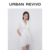 Dress Winter 2020 Benbai S XL L M Short skirt Short sleeve V-neck middle-waisted Solid color 25-29 years old UR More than 95% cotton Cotton 100% Same model in shopping mall (sold online and offline)