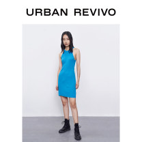 Dress Summer 2020 Cyan blue S L M Mid length dress Sleeveless Crew neck middle-waisted routine 25-29 years old UR 30% and below other polyester fiber Viscose (viscose) 85% polyester 15% Same model in shopping mall (sold online and offline)