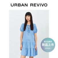 Dress Summer 2021 Light blue S XS L M Middle-skirt singleton  Short sleeve Crew neck middle-waisted Solid color routine 25-29 years old UR 31% (inclusive) - 50% (inclusive) other nylon Viscose (viscose) 55% polyamide (nylon) 45% Same model in shopping mall (sold online and offline)