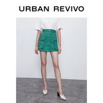 skirt Summer 2020 S XL XS L M Light green Khaki Short skirt Natural waist 25-29 years old More than 95% UR cotton Cotton 98% polyurethane elastic fiber (spandex) 2% Same model in shopping mall (sold online and offline)