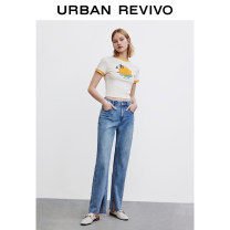 Jeans Summer 2021 blue XXS S XS L M trousers Natural waist Straight pants 25-29 years old WH17SBKN2009 UR 96% and above Cotton 99% polyurethane elastic fiber (spandex) 1% Same model in shopping mall (sold online and offline)