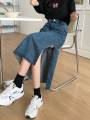 skirt Summer 2021 S,M,L,XL blue Mid length dress Versatile High waist A-line skirt Solid color Type A 18-24 years old zy1005 More than 95% Denim Other / other other Asymmetric, button, zipper