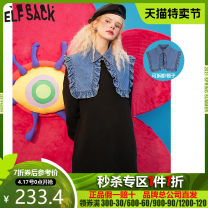Dress Winter 2020 Magic black S M L Mid length dress singleton  Long sleeves commute Crew neck Loose waist Socket other routine 18-24 years old Type H Goblin's pocket Retro 1040_ AL0221 More than 95% other Other 100% Same model in shopping mall (sold online and offline)