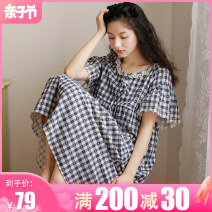 Home skirt Fudo Pink Plaid nightdress 1413-1 Blue Plaid nightdress 1413-2 M [about 115 kg recommended postpartum] l [about 130 kg recommended postpartum] XL [about 145 kg recommended postpartum] Short sleeve summer Crew neck Thin money lovely lattice cotton pure cotton LZ1413A