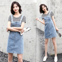 Dress Summer 2020 White, stripe S,M,L,XL,2XL,3XL,4XL Miniskirt Two piece set Short sleeve commute Crew neck middle-waisted Solid color Socket A-line skirt routine straps 18-24 years old Type A Korean version 81% (inclusive) - 90% (inclusive) Denim cotton