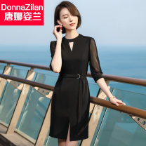 Dress Spring 2020 20803 black dress 20803 apricot dress 20803 blue dress S M L XL XXL XXXL 4XL Mid length dress singleton  three quarter sleeve commute Crew neck middle-waisted Solid color Socket One pace skirt routine Others 30-34 years old Type A Donna Zilan / Donna Zilan Korean version zipper