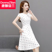 Dress Summer 2020 9928 feather white background dress 9928 Yellow Blue Maple Leaf dress 9928 sailboat dress 9928 yellow green purple leaf dress 9928 yellow orange black maple leaf dress 9928 red chrysanthemum dress 9928 black chrysanthemum dress M L XL XXL XXXL Middle-skirt singleton  Short sleeve