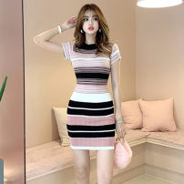 Dress Summer 2020 Pink, black Average size Short skirt singleton  Short sleeve commute Crew neck High waist other other other routine Others 18-24 years old Korean version 81% (inclusive) - 90% (inclusive) other cotton