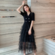 Dress Summer 2021 black Average size Mid length dress Short sleeve commute High waist 25-29 years old LK2003 Korean version LK211-4698 81% (inclusive) - 90% (inclusive) polyester fiber Polyester 90% other 10% Pure e-commerce (online only)