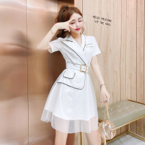 Dress Summer 2021 White black S M L Short skirt singleton  Short sleeve commute tailored collar High waist Solid color Single row two buttons Irregular skirt routine 25-29 years old Type A LK2003 Korean version LK211-3224 81% (inclusive) - 90% (inclusive) polyester fiber Polyester 90% other 10%