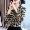 Lace / Chiffon Spring 2020 Picture color S,M,L,XL,2XL Long sleeves commute Socket singleton  Self cultivation V-neck Leopard Print routine 30-34 years old 4-16 Bowknot, lace up, stitching Korean version