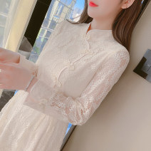 Dress Spring 2021 Pink apricot S M L XL 2XL Mid length dress singleton  Long sleeves commute stand collar middle-waisted Solid color zipper Princess Dress routine Others 25-29 years old Type A Manlin Korean version 3D lace resin fixation with bowknot pleated stitching More than 95% Lace other