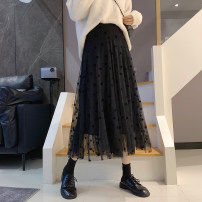 skirt Spring 2021 S M L XL Black apricot Mid length dress commute High waist Pleated skirt Solid color Type A 25-29 years old More than 95% Manlin other Korean version Other 100% Pure e-commerce (online only)
