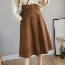 skirt Spring 2021 S M L XL Khaki black Mid length dress commute High waist A-line skirt Solid color Type A 25-29 years old More than 95% corduroy Manlin other Three dimensional decorative button with pleated pocket and resin fixation stitching 3D Korean version Other 100%