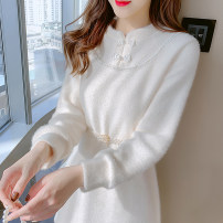 Dress Spring 2021 Apricot white 1258 white 3018 white 8997 off white S M L XL Mid length dress singleton  Long sleeves Sweet Crew neck High waist Solid color Socket A-line skirt routine Others 25-29 years old Type A Manlin More than 95% other Other 100% solar system Pure e-commerce (online only)