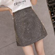skirt Spring 2021 S M L XL Picture color Short skirt commute High waist A-line skirt Solid color Type A 25-29 years old More than 95% Manlin other Three dimensional decorative Sequin 3D Korean version Other 100% Pure e-commerce (online only)
