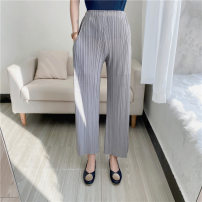 Casual pants Black, purple, gray, deep lake blue, light blue Average size Spring 2021 trousers Straight pants Natural waist Other styles routine 25-29 years old polyester fiber fold