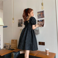 Dress Summer 2021 black S,M,L,XL Short skirt singleton  Short sleeve commute Crew neck High waist Solid color Socket Princess Dress puff sleeve Others 18-24 years old Type A Other / other Korean version 71% (inclusive) - 80% (inclusive) other other