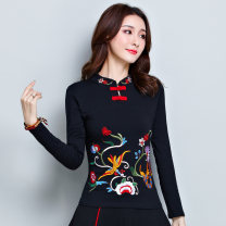 T-shirt Black, red, jujube L,XL,2XL,3XL,4XL,5XL Spring 2021 Long sleeves stand collar Self cultivation Regular routine commute cotton 86% (inclusive) -95% (inclusive) 25-29 years old ethnic style youth Cartoon animation, animal patterns, plants and flowers, geometric patterns, solid color, splicing