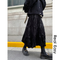 skirt Winter 2020 Average size Black, brown Mid length dress commute Natural waist Fairy Dress Type A 18-24 years old 51% (inclusive) - 70% (inclusive) polyester fiber fold Korean version 101g / m ^ 2 (including) - 120g / m ^ 2 (including)