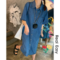 shirt Denim blue Average size Spring 2021 cotton 96% and above Long sleeves commute Medium length Single row multi button shirt sleeve 18-24 years old Straight cylinder Korean version 21.04.12