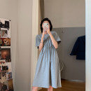 T-shirt Blue, gray, black, grapefruit powder S,M,L Spring 2020 Short sleeve Crew neck Medium length routine commute cotton 96% and above 18-24 years old Korean version Solid color 20.3.24