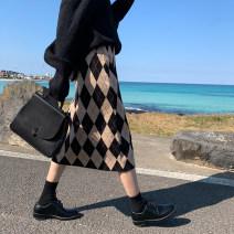 skirt Winter of 2019 Average size Black, khaki Mid length dress commute High waist Fairy Dress lattice Type H 18-24 years old 19.11.11H 31% (inclusive) - 50% (inclusive) knitting Viscose Geling Korean version 401g / m ^ 2 (inclusive) - 500g / m ^ 2 (inclusive)