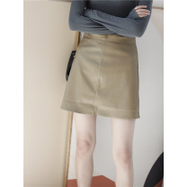 skirt Autumn of 2018 S,M,L Short skirt commute Natural waist A-line skirt Solid color Type A 18-24 years old 71% (inclusive) - 80% (inclusive) other other zipper Korean version