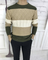T-shirt / sweater Sanggo Sherman Youth fashion Color matching 44/165,46/170,48/175,50/180,52/185 routine Socket Crew neck Long sleeves winter Slim fit 2018 Regular wool (10 stitches, 12 stitches) wool blend  Color matching 30% and below
