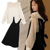 Dress Good news Black apricot (two piece set) M,L,XL,XXL Korean version Long sleeves Medium length spring Solid color polyester