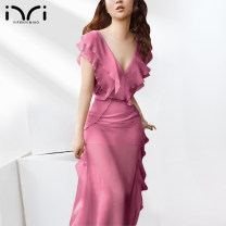 Dress Summer 2021 Rose red green S M L XL longuette singleton  Short sleeve street V-neck other Others 25-29 years old One minute, one second mx613 More than 95% polyester fiber Polyester 100% Pure e-commerce (online only) Europe and America