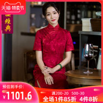 cheongsam Winter of 2018 S M L XL XXL XXXL Short sleeve long cheongsam Retro High slit daily Oblique lapel Decor Over 35 years old Piping Chinese Classics silk Mulberry silk 100% Pure e-commerce (online only) 96% and above