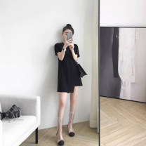 Dress Spring of 2019 Black dress S,M,L,XL,2XL Short skirt singleton  Short sleeve commute Crew neck High waist Solid color zipper Irregular skirt other Others 18-24 years old Type A Other / other Korean version 81% (inclusive) - 90% (inclusive) other polyester fiber