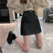 skirt Winter 2020 S,M,L,XL,2XL,3XL,4XL,5XL black Short skirt Versatile High waist A-line skirt Solid color Type A 18-24 years old 71% (inclusive) - 80% (inclusive) cowhide PU