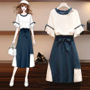 Fashion suit Spring 2021 M suggests 80-100kg, l 100-120kg, XL 120-140kg, 2XL 140-160kg, 3XL 160-180kg, 4XL 180-200kg Navy Top + Navy skirt two piece set, Navy top piece, Navy skirt piece