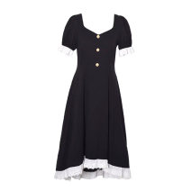 Dress Summer 2021 Black, dark, do not wash with light S,M,L,XL longuette singleton  Short sleeve commute square neck High waist Solid color zipper A-line skirt puff sleeve 18-24 years old Type A Retro Splicing 51% (inclusive) - 70% (inclusive) other polyester fiber