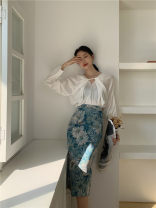 skirt Autumn 2020 S,M,L Oil blue, Retro Red longuette Retro High waist skirt Decor Type H 25-29 years old 81% (inclusive) - 90% (inclusive) other printing