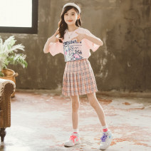 suit Pikapika White T + Pink Skirt Pink t + Pink skirt 120cm 130cm 140cm 150cm 160cm 170cm female summer leisure time Short sleeve + skirt 2 pieces routine There are models in the real shooting Socket nothing printing cotton children Expression of love PKX21009 - A Class B Summer 2021