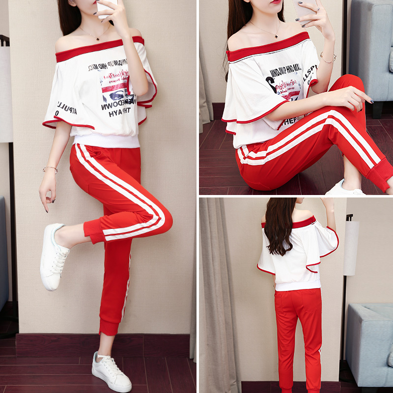 Casual suit Summer of 2018 Two piece red shorts S M L XL XXL