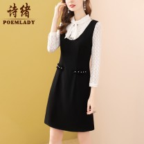 Dress Spring 2021 black S M L XL XXL XXXL Short skirt singleton  three quarter sleeve commute Scarf Collar middle-waisted Solid color zipper A-line skirt routine 35-39 years old Type A POEMLADY Ol style Bowknot embroidery lace up three dimensional decoration lace up button gauze mesh zipper split