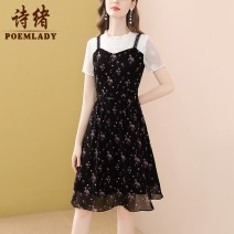 Dress Summer 2021 black S M L XL XXL XXXL Middle-skirt Fake two pieces Short sleeve commute Crew neck middle-waisted Decor zipper A-line skirt routine 35-39 years old Type A POEMLADY Ol style Pleated stitching three-dimensional decorative button mesh zipper printing split P21XL55333 More than 95%