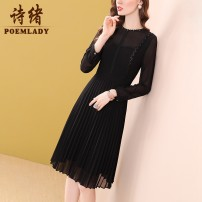 Dress Spring 2021 black S M L XL XXL XXXL Middle-skirt singleton  Long sleeves commute Crew neck middle-waisted Solid color zipper A-line skirt routine 35-39 years old Type A POEMLADY Ol style Pleated stitching three-dimensional decorative Sequin button zipper split P21CL54394 More than 95%