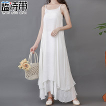 Dress Summer 2020 white M L longuette singleton  Sleeveless commute Loose waist Solid color Socket Irregular skirt camisole 18-24 years old Blue poem belt literature LSD20N799421 More than 95% other Other 100% Pure e-commerce (online only)