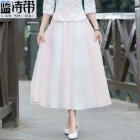 skirt Summer of 2018 Average size Picture color Mid length dress commute Natural waist A-line skirt other More than 95% Blue poem belt other ethnic style Other 100% Pure e-commerce (online only)